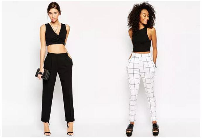 pantalones de pinzas top cortos